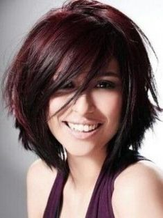 Mid Length layers Without Bangs- Haircut . Violet Chunky Highlights on Dark Brown Hair - Hair Color. Best On Medium To Thick Texture Hair Hair Color Highlights, Red Hair Color, Burgundy Highlights, Burgundy Bob, Cherry Cola Hair Color, Magenta Hair, Violet Hair, Chocolate Cherry Hair Color, Red Color