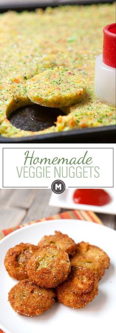 Homemade Veggie Nuggets: These are the perfect vegetarian alternative to the chicken nugget. Made with mashed carrots, broccoli, and golden beets. They are slightly sweet and perfectly crispy! | http://macheesmo.com