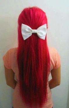Little mermaid hair + d red hair + d white bow Lazy Girl Hairstyles, Pretty Hairstyles, Red Hairstyles, Dye My Hair, Love Hair, Gorgeous Hair, Amazing Hair, Ariel Hair, Bright Red Hair