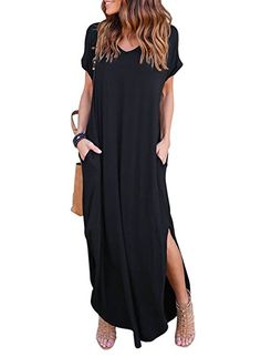 HUSKARY Women s Casual Short Sleeve Split Long Maxi Loose Dress with Pockets  (X-Large e24429d2f