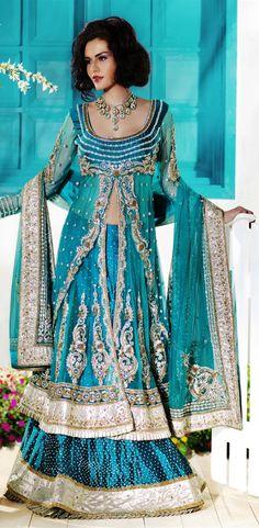 Sea blue color lehenga choli with charming look