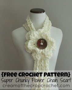 Super Chunky Flower Chain Scarf - Free Crochet Pattern from Cream of the Crop Crochet.