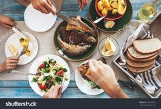 Family Dinner With Fried Fish, Potato And Salad Stock Photo 359270072 : Shutterstock