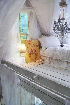 Shabby chic loft bedroom