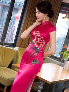 Hollow Solid Color V-neck Knitting Sweater Tops Pin Up Dresses, Grad Dresses, Elegant Dresses For Women, Japanese Sexy, Cheongsam Dress, Beautiful Outfits, Beautiful Clothes, Traditional Dresses, Chiffon Dress