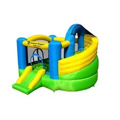 Curved Double Slide Inflatable Bounce House - Jump-A-Lot