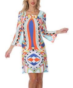 Take a look at this Orange & Blue Square Neck Dress by White Mark on #zulily today!