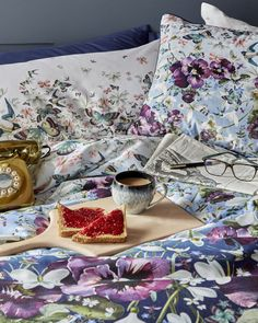 BREAKFAST IN BED: Ted's luxurious Entangled Enchantment printed bedding features a floral design topped off with birds and butterflies.