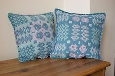 2 VGC Trefriw Welsh tapestry blanket cushion covers Midcentury style (not pads)