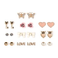 "Love knows no bounds when it comes to style with these romantically inspired studs. This 9 piece set includes: heart shaped keys, pink sculpted roses, gold ball studs, ivory enamel bows, bezel set crystal studs, owls with coral heart centers, ""love"" studs, coral enamel hearts and ivory pearl studs. Also includes a bonus 10th pair of crystal butterflies."