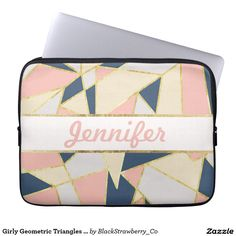 Girly Geometric Triangles with Faux Gold Monogram Computer Sleeves