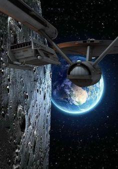 Star Trek: USS Enterprise and Shuttlecraft Nave Enterprise, Star Trek Enterprise, Star Trek Voyager, Star Trek Wallpaper, Sci Fi Wallpaper, Arte Do Sistema Solar, Star Trek Posters, Cosmos, Star Trek Cast