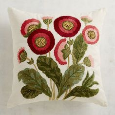 Embroidered Tuscan Poppies Pillow