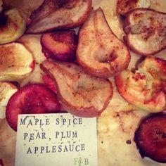 Maple spice pear, plum applesauce