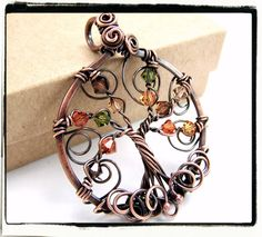 Antique Copper Autumn Crystal Tree of Life