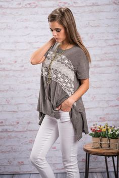 On My Mind Top, Charcoal || There is just something about this top that will make it stay on your mind. The lace across the from is so pretty and delicate and the fit is loose yet flattering! Maybe we just figured out what it is that makes it stay with you!