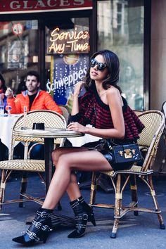 Paris Fashion Week Outfit - Striped One shoulder sweater & Isabel Marant patent leather skirt & boots