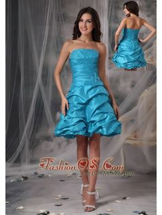 Cheap Aqua Blue Cocktail Dress A-Line / Princess Strapless Taffeta Beading Mini-length    http://www.fashionos.com  http://www.facebook.com/quinceaneradress.fashionos.us   Short and pretty dresses are just as much fun to wear as they are to look at. This one is a great option. It features a pleated bodice with pretty rhinestone accents throughout the bust. It has an nature waist. The mini-length hem is ruffled just enough to add lots of body to the design.