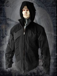 medieval  knight armor hoodie - black Jacket with lot's of pockets and Zipfelmütze