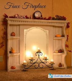 Coastal Mom Creations: Faux fireplace from an old shelf with mirror - repurposed dresser Faux Fireplace Mantels, Fireplace Built Ins, Fireplace Hearth, Fireplace Design, Mantles, Fireplaces, Fake Mantle, Fireplace Whitewash, Craftsman Fireplace