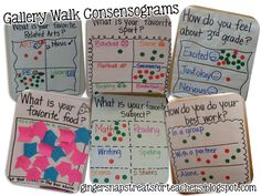 Consensograms  combining a gallery walk with data collection. What a great activity for the first days of school! From Ginger Snaps Treats for Teachers.