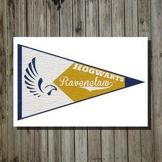 Harry Potter Hogwarts house banner ravenclaw print movie poster minimalist poster geekery art print sci fi print