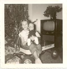 ::::::::::: Vintage Photograph :::::::::::  Very happy girl with her new doll for Christmas!