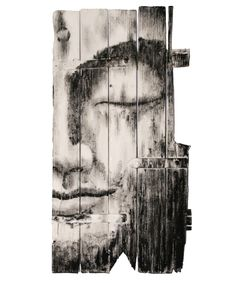 Buddha painting on rustic wood