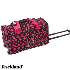 Travel in style with this cute set of patterned carry-on rolling luggage from Rockland. This upright luggage set features a fun polka dot pattern and an adjustable strap that makes carrying the bag easier. Inline skate wheels give your back a break.