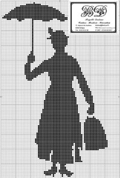 free cross stitch chart -- I just love Mary Poppins! Definitely need to stitch this! Cross Stitching, Cross Stitch Embroidery, Embroidery Patterns, Cross Stitch Designs, Cross Stitch Patterns, Mary Poppins, Free Cross Stitch Charts, Filet Crochet, Knitting Charts