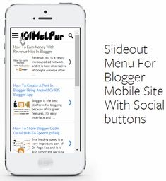 Slideout Menu For Blogger Mobile Site With Social buttons
