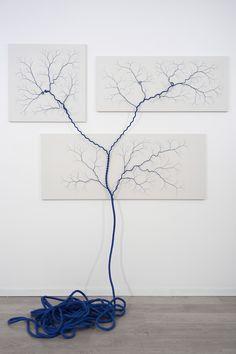 Installations with Nylon Rope & Nails by Janaina Mello Landini