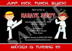Printable Karate Birthday Party Invitation Digital by jessica91582, $10.00