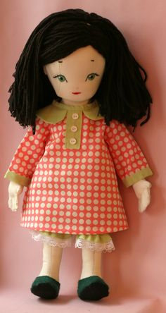 Jane - handmade doll using a pattern (with small modifications) by Jill Hamor from her new book, Storybook Toys