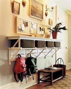 home command center. Another pinner says (and i agree, but can we do it in our small entry way withou blocking the bathroom door? ) I particularly like the shelves with baskets and hooks