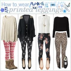 how to wear printed leggings | how to wear printed leggings created by poly tipgirls xox one year
