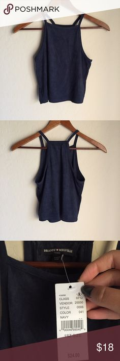 *Brand new* Brandy Melville Suede Top in Navy Purchased from Pacsun and was too small for me but too late to return:( Very soft because of the thick suede fabric. A little higher priced because it is brand new and ver good quality! Brandy Melville Tops Tank Tops