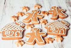 Gingerbread cookies on a white shabby table Gingerbread Cookies, Holiday, Food, Vectors, Patterns, Table, Gingerbread Cupcakes, Block Prints, Vacations