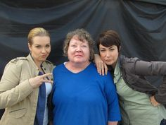 S.E. Hinton and the sheriffs :) between the scenes of 10x08 - Supernatural Cast
