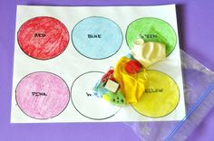 Color Sorting  This busy bag uses items you have around the house.  Find items of various colors, make a color mat, and have your child sort the items by color.