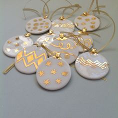 Gold painted porcelain Christmas ornament by ClydeStCeramics
