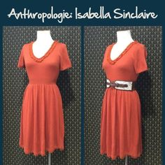"""Anthro """"Jacinth Sweaterdress"""" by Isabella Sinclair Pull on styling.  Medium weight. Great condition. Rich deep orange color.  **  Prices are as listed- Nonnegotiable.  I'm happy to bundle to save shipping costs, but there are no additional discounts.  No trades, paypal or condescending terms of endearment  ** Anthropologie Dresses"""