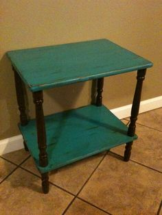 Turquoise and Brown Refurbished Weathered Distressed Two Tiered End Side Table. $30.00, via Etsy.