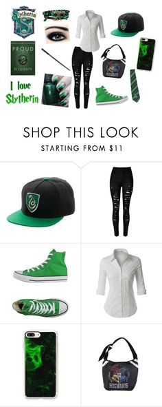 """""""Slytherin Style"""" by little-flemo ❤ liked on Polyvore featuring Converse, LE3NO, Casetify and Warner Bros."""