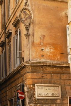 A Madonna gracing the corner of Piazza della Rotonda, outside the Pantheon. Rome, Italy.