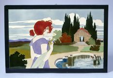 J. Schwarz & Carl Luber, ceramic tile, 1900, landscape with Art Nouveau mermaid and formal pond.