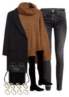 A fashion look from September 2015 featuring h&m sweaters, oversized coats and h&m jeans. Browse and shop related looks. Komplette Outfits, Cute Casual Outfits, Stylish Outfits, Winter Fashion Outfits, Fall Winter Outfits, Autumn Winter Fashion, Winter Mode, Mode Inspiration, Winter Looks