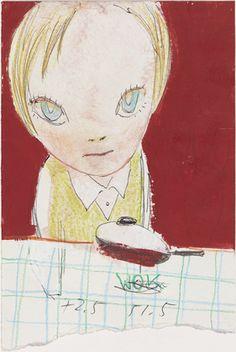 """""""Boy with Wok"""". Dibujo artístico por la artista japonesa, Yoshimoto Nara. Realizado con distintos materiales, es un dibujo simple con su estilo representativo."""