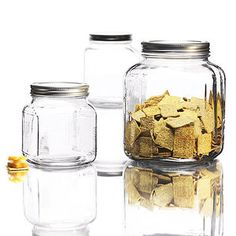 Dust free storage for makeup brushes. Anchor Hocking 3-Piece Cracker Jar Glass Canister Set $16 at Walmart.