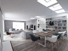 Cosy attic apartment in Warsaw + fantastic model of Juraj Talcik in the bedroomprivate client Attic Apartment, Warsaw, Interior Inspiration, Living Spaces, House Design, Interior Design, Table, Furniture, Behance